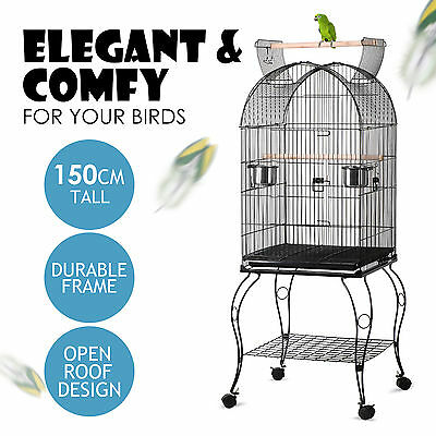 150cm Bird Cage Parrot Aviary Pet Stand-alone Budgie Perch Castor Wheels Large