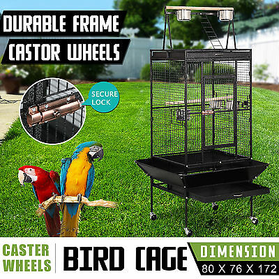 172cm Metal Play Top Roof Pet Parrot Aviary Bird Cage Perch Ladder On Wheels New