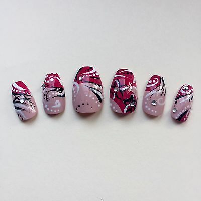 Hand Painted False Nails COFFIN (ALL SHAPES) Full Cover. Summer Holiday Pink. UK