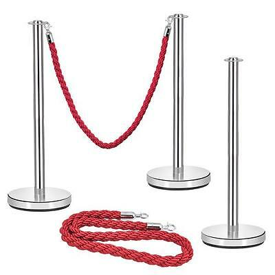 2xPolished Stainless Steel Queue Rope Barrier Posts with 1.5m Red Twisted Rope
