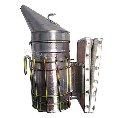 Bee Hive Smoker Stainless Steel w/Heat Shield Beekeeping Equipment Stainless