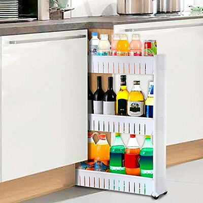 Slide Out Storage Tower Folding 3 Tier Rolling Castor Kitchen Trolley Spice Rack