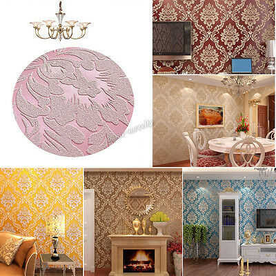 Luxury 3D Metallic Classic Damask Embossed Textured Pattern Wallpaper 6 Colors