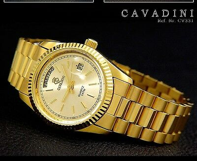 "Cavadini""leonardo""18 Carat Goldplatted+Day-Date+All Stainless Steel 316 L+"
