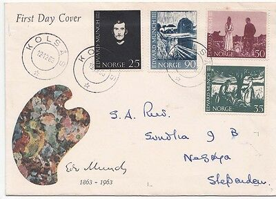 Norway 1963 FDC Edvard Munch and  facsimile signed