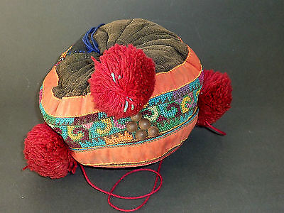 Antique YAO LU MIEN hand embroidered child's hat cap OLD babies THAI LAOS TRIBE