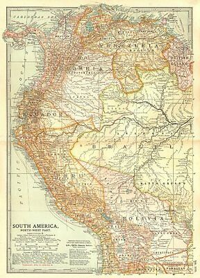 PERU BOLIVIA CHILE.shows battles/dates inc.War of the Pacific 1877-80 1903 map
