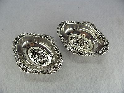 Pretty Pair c.1900 Embossed Rose Design Solid Silver Trinket Dishes