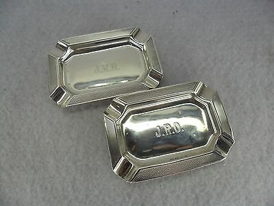 Pair of Art Deco Sterling Solid Silver Ashtrays, Birmingham 1934