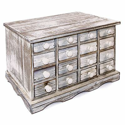 Wooden 16 Drawer Storage Unit Cabinet Organiser Rustic Shabby Chic White Wood