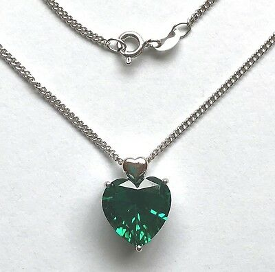 "5.6ct Created Emerald Real 925 Silver Heart Shape Pendant w/ 18"" Chain Necklace"