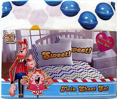 Candy Crush Saga Twin Sheet Set Licensed By King Cotton Rich New