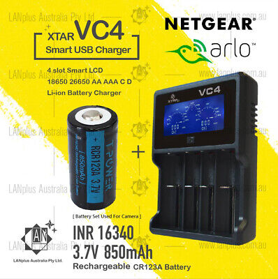 Netgear Arlo Camera Rechargeable Battery CR123a & Charger Kit by XTAR VC4
