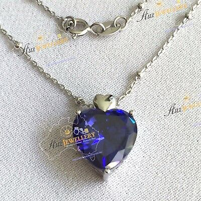 "5.6ct Created Sapphire Real 925 Sterlin Silver Heart Pendant 18"" Chain Necklace"