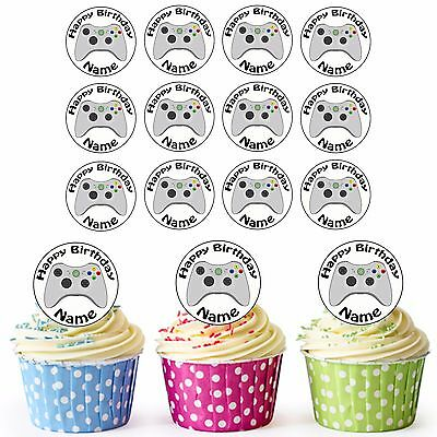 Xbox Controller 24 Personalised Pre-Cut Edible Birthday Cupcake Toppers Boys Son