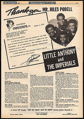 LITTLE ANTHONY AND THE IMPERIALS__Original 1969 Trade AD music promo / poster