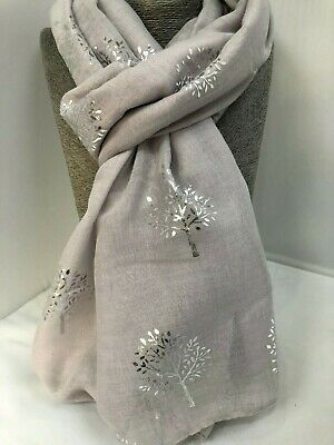 Ladies Pretty light Grey Scarf with Silver Foil Mulberry Trees metallic gift NEW