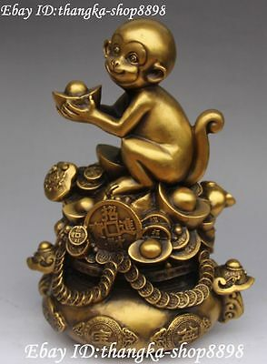 "11"" Chinese Pure Bronze Wealth Money Treasure Bowl Monkey Monkeys Animal Statue"