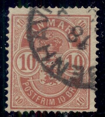 "DENMARK #39v 10ore Coast of Arms 'WHITE LINE TO LEFT OF SHIELD"", used"