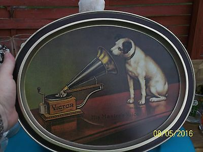 "FABCRAFT RCA VICTOR METAL SERVING TRAY ""His Masters Voice"" NIPPER THE DOG"
