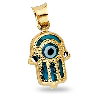 Solid 14k Yellow Gold Round Evil Eye Pendant Turkish Good Luck Charm Polished Genuine 11 x 10 mm