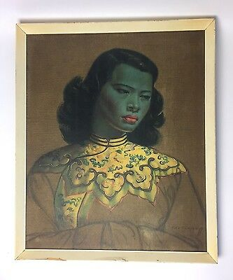 ORIGINAL VINTAGE 50s 60s TRETCHIKOFF CHINESE GIRL GREEN LADY LARGE FRAMED PRINT