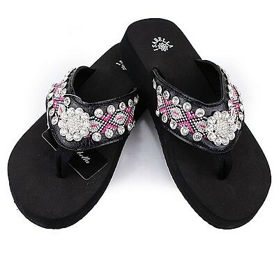 18 Pairs Western Rhinestone Bling Sunflower Flip Flops in One Box, Multi-Colors