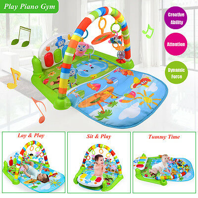 Baby Gym Mat PlayMat Lay Sit Play Fitness Music Lights Fun Piano Toy Tummy Time