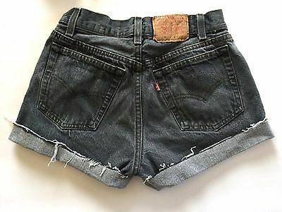 "Vtg 80s Gray LEVIS 25"" Boyfriend 701 501 Button Fly Cut-Off USA Jean SHORTS XS/S"