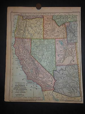 West United States 1875 Map California Nevada Idaho Utah Arizona Wyoming Oregon