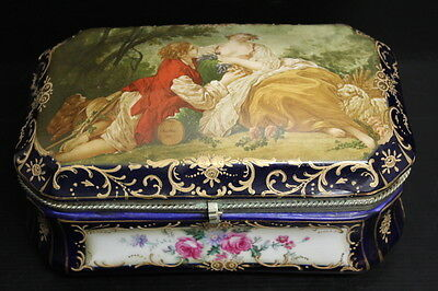 "Vintage Large RS Prussia Painted Porcelain Box w/ Hinged Lid Cobalt ~ 10"" x 7"""