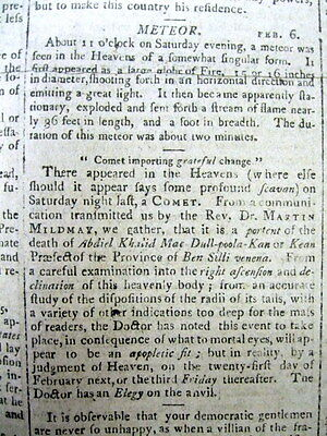 1800 newspaper w front page report of a Meteor - was it a UFO or FLYING SAUCER ?