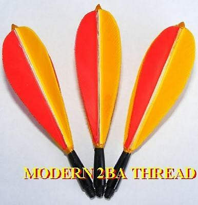 2ba THREAD LONG RED & YELLOW  HAND MADE FEATHER FLIGHTS