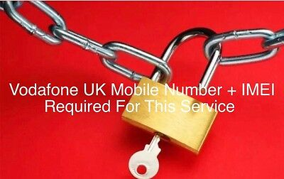 Vodafone Unlocking Service 4 4s 5 5s 6 6+ 6s 6s+ SE 7 7+(phone Number Needed)