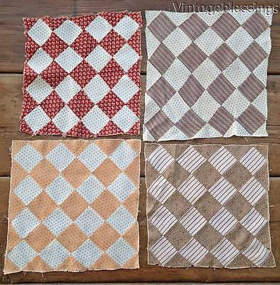 4 Crisp EARLY Antique c1870 QUILT Blocks GREAT FABRICS