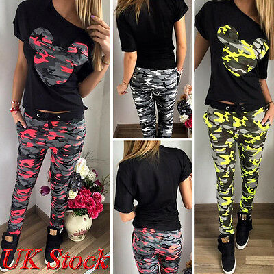 UK Womens Tracksuit Ladies Camouflage Lounge Suit Joggers Tops Pants Activewear