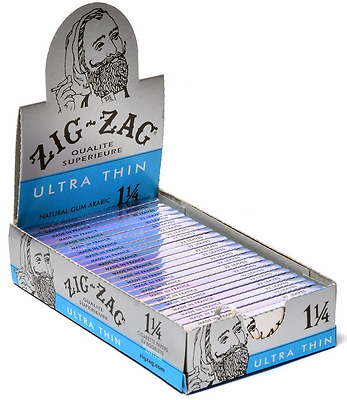 Full Box 24x Packs ( Zig Zag Ultra Thin 1.25 1 1/4 ) Cigarette Rolling Papers