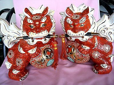 Japanese Antique Pair of Shishi Foo Dogs- Red Lions- Porcelain Kutani