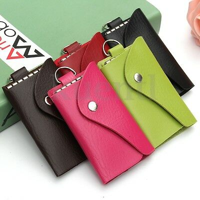 Unisex Soft Leather Key Chain Case Pouch Holder Accessory 6 Hooks Ring Protable