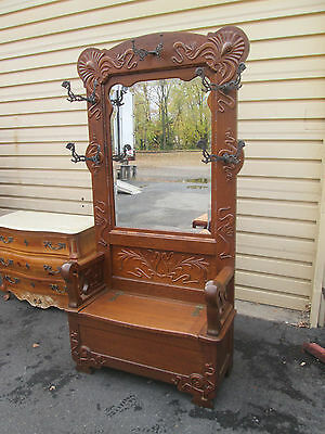 56313    Antique Oak Hall Seat Coattree Stand W/ Mirror