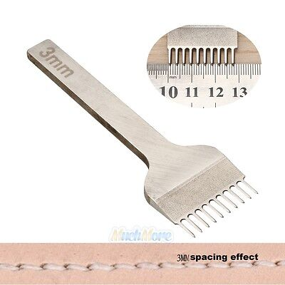 10 Prong Leather Craft Tools Hole Chisel Graving Stitching Punch Tool 3MM Space