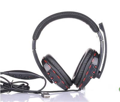 Leather USB Wired Stereo Micphone Headphone Mic Headset for Sony PS3 PC Game OI
