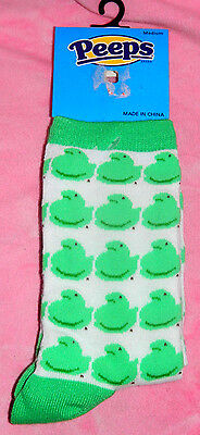 New Peeps Bright Green Baby Chick Marshmallow Candy Socks Women Med. 6-11 Easter