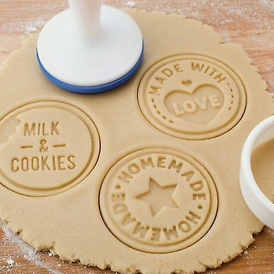 TOVOLO Silicone Cookie Stamp set (homemade, milk & cookies , made with love)