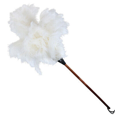 One light cream ostrich feather duster duster wood shaped stained handle 70cm