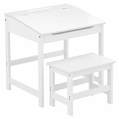 Childrens Kids Desk Home Work Reading Writing Study Table and Stool Set White