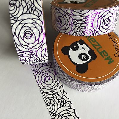 Washi Tape Violet Foil Floral Silhouette 15Mm Wide X 10Mtr Roll Planner Craft