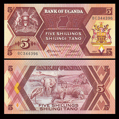 Africa - Uganda 5 Shillings Paper Money,1987,P-27,Uncirculated .1Pieces