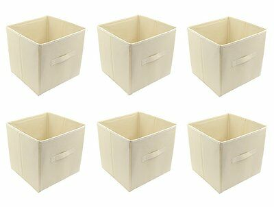 3x Wardrobe Storage Bin Box Closet Organizer Toy Cube Magazine Container Beige