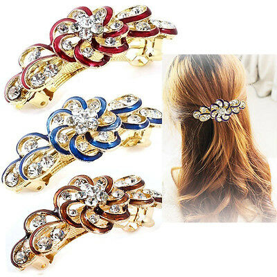 Shine Women Hair Clip Flower Crystal Rhinestone Barrette Hairpin Headband Chic